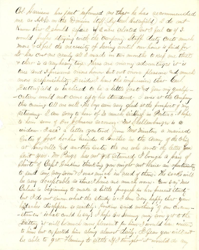 Joseph Culver Letter, April 15, 1864, Page 2