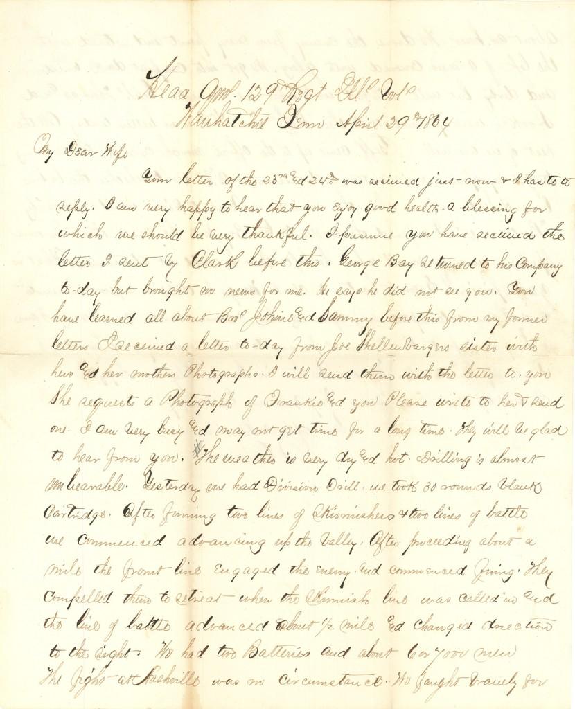 Joseph Culver Letter, April 29, 1864, Page 1