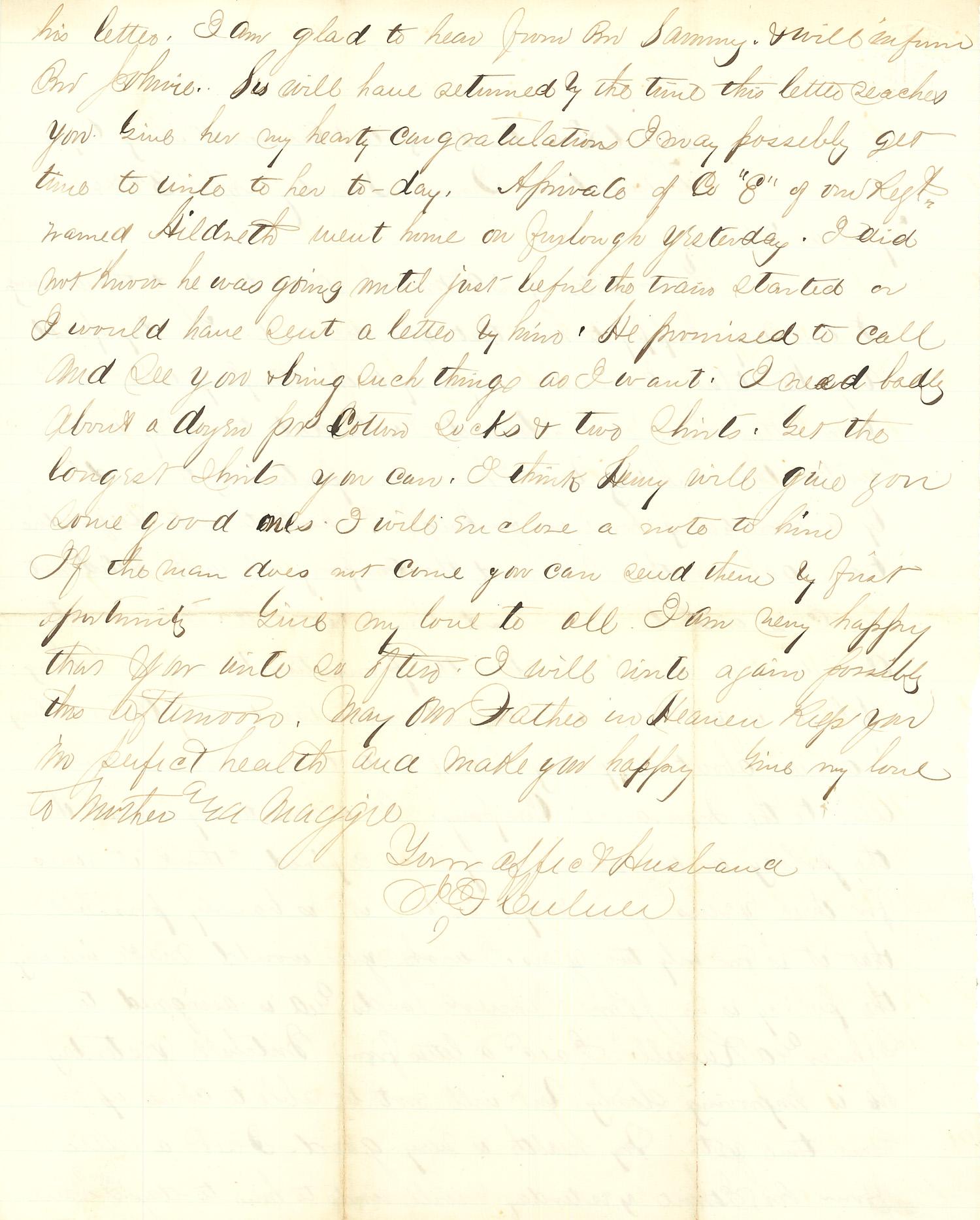 Joseph Culver Letter, April 3, 1864, Page 2