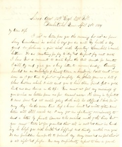 Joseph Culver Letter, April 30, 1864, Page 1