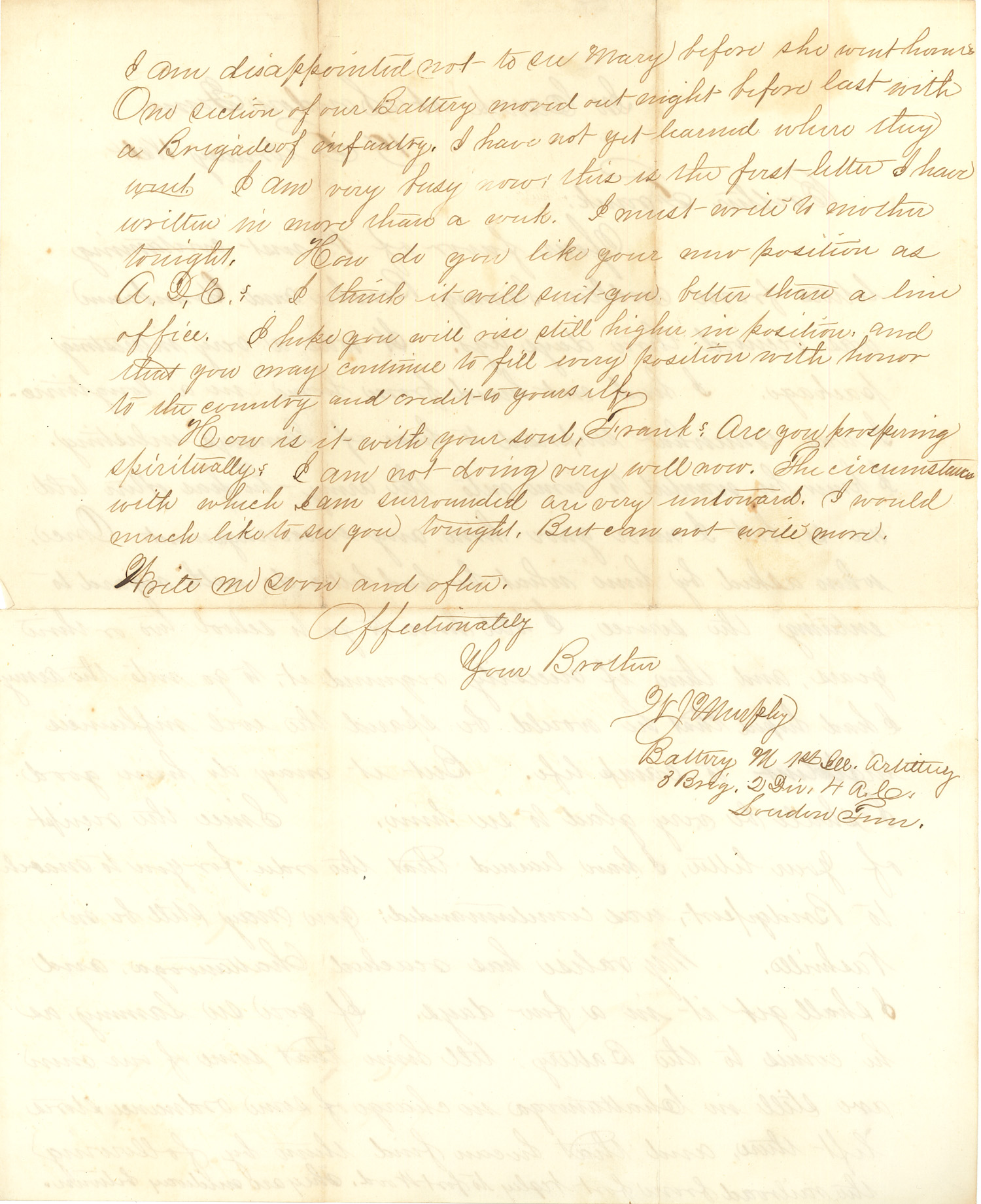 Joseph Culver Letter, February 19, 1864, Page 2