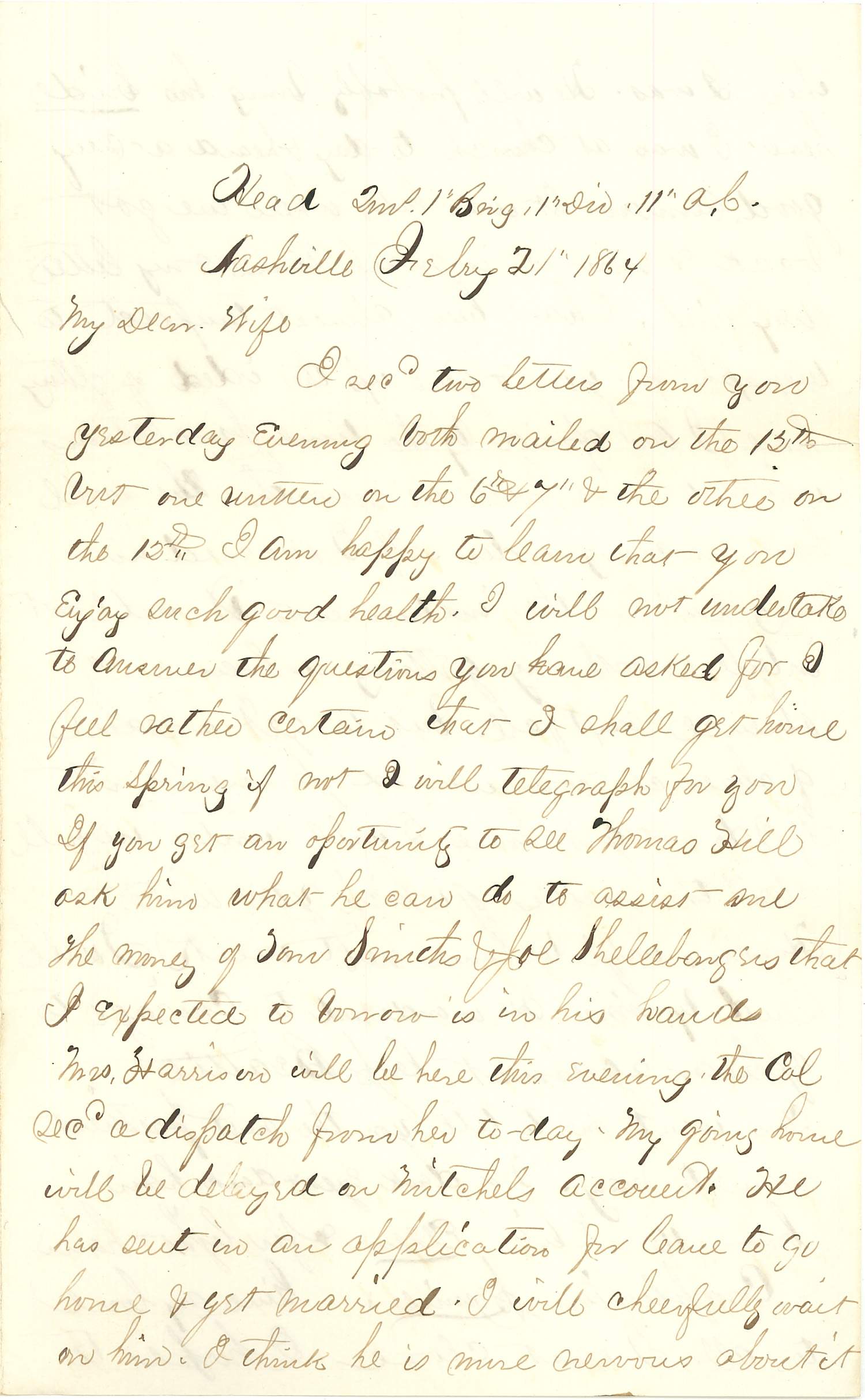 Joseph Culver Letter, February 21, 1864, Page 1