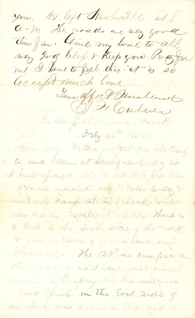 Joseph Culver Letter, February 24, 1864, Letter 2, Page 2