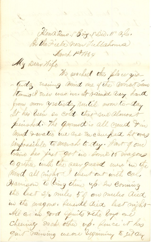 Joseph Culver Letter, March 1, 1864, Page 1