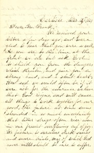 Joseph Culver Letter, March 12, 1864, Page 1