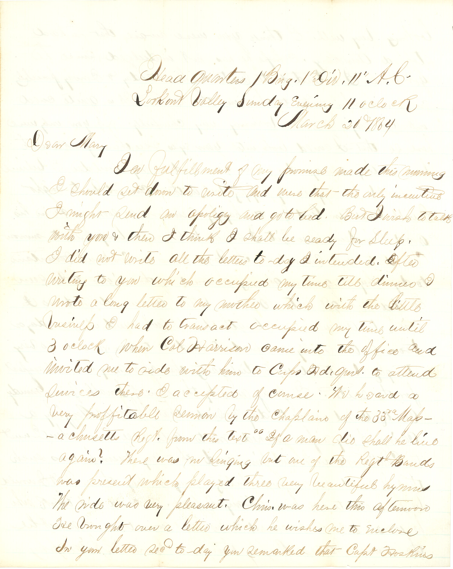 Joseph Culver Letter, March 20, 1864, Letter 2, Page 1