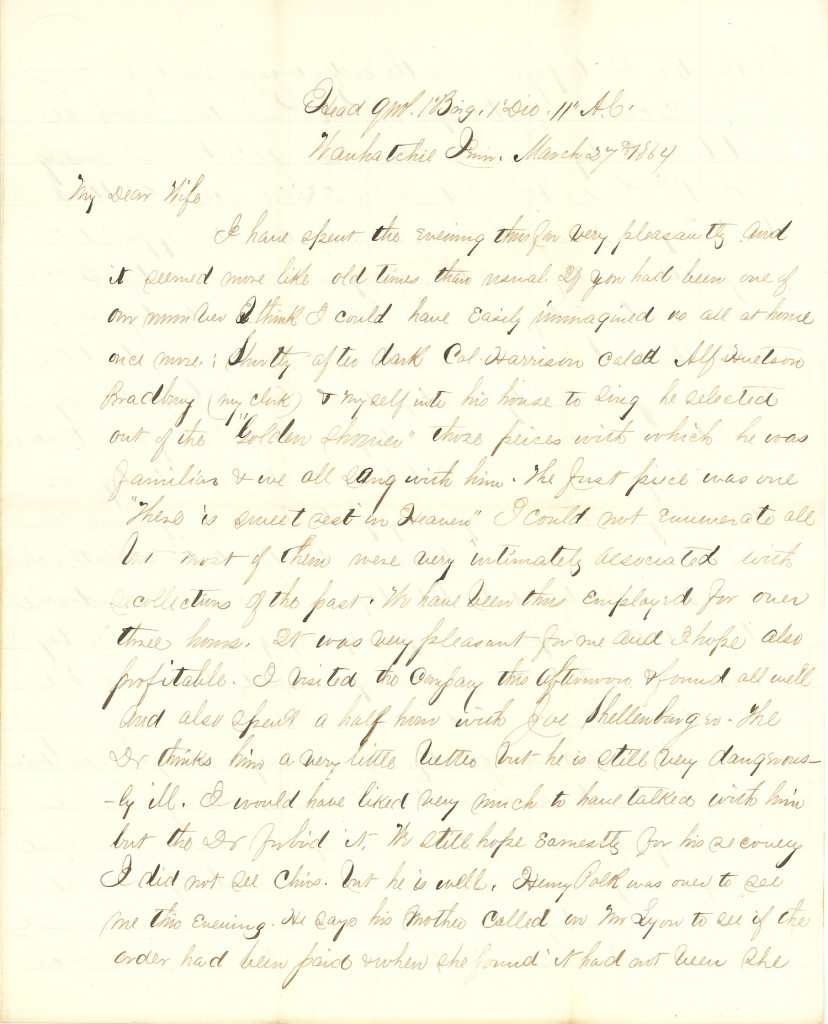 Joseph Culver Letter, March 27, 1864, Letter 2, Page 1