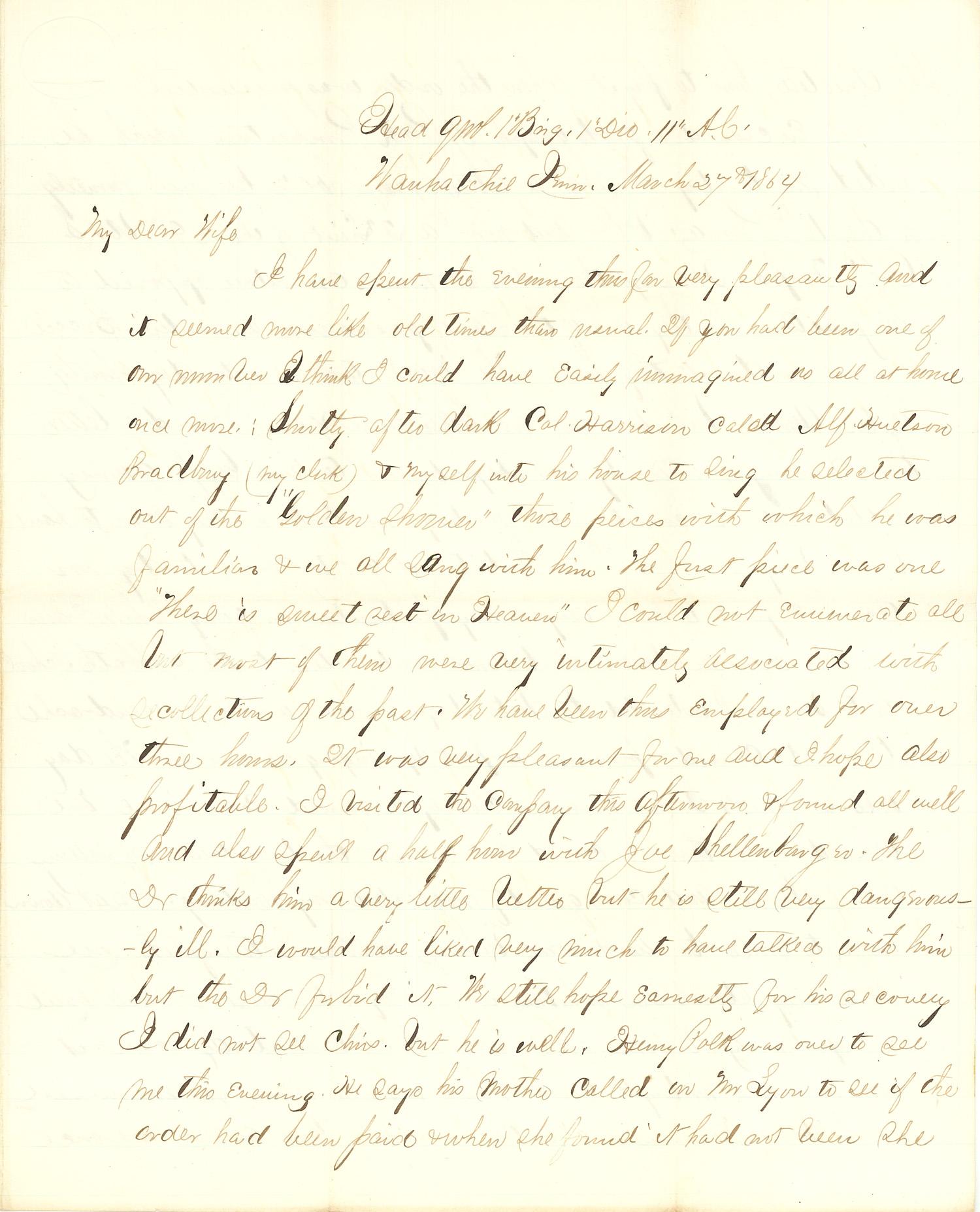 Joseph Culver Letter, March 27, 1864, Letter 2, Page 1