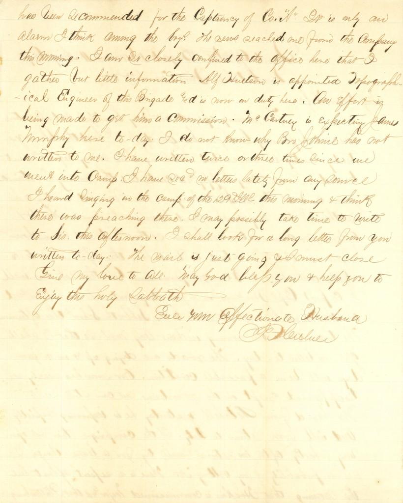 Joseph Culver Letter, March 27, 1864, Page 2 » Joseph F. Culver Civil ...