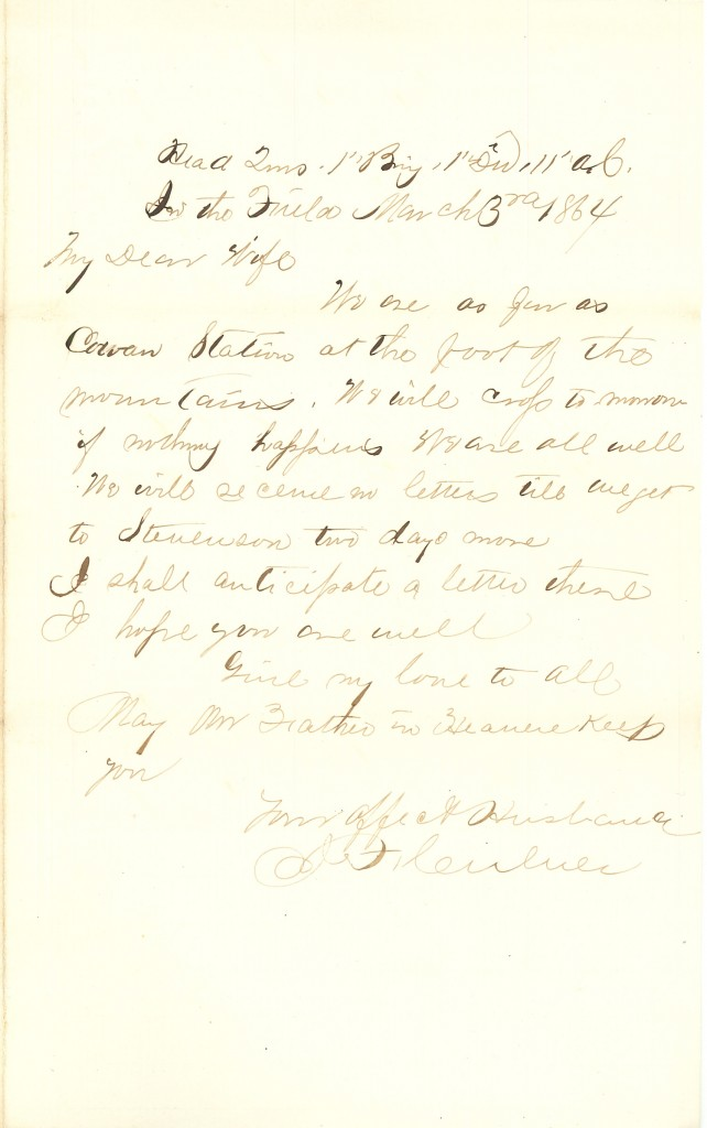 Joseph Culver Letter, March 3, 1864, Page 1