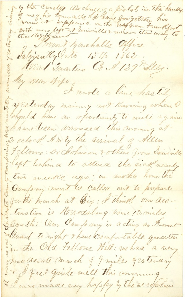 Joseph Culver Letter, October 15, 1862, Page 1