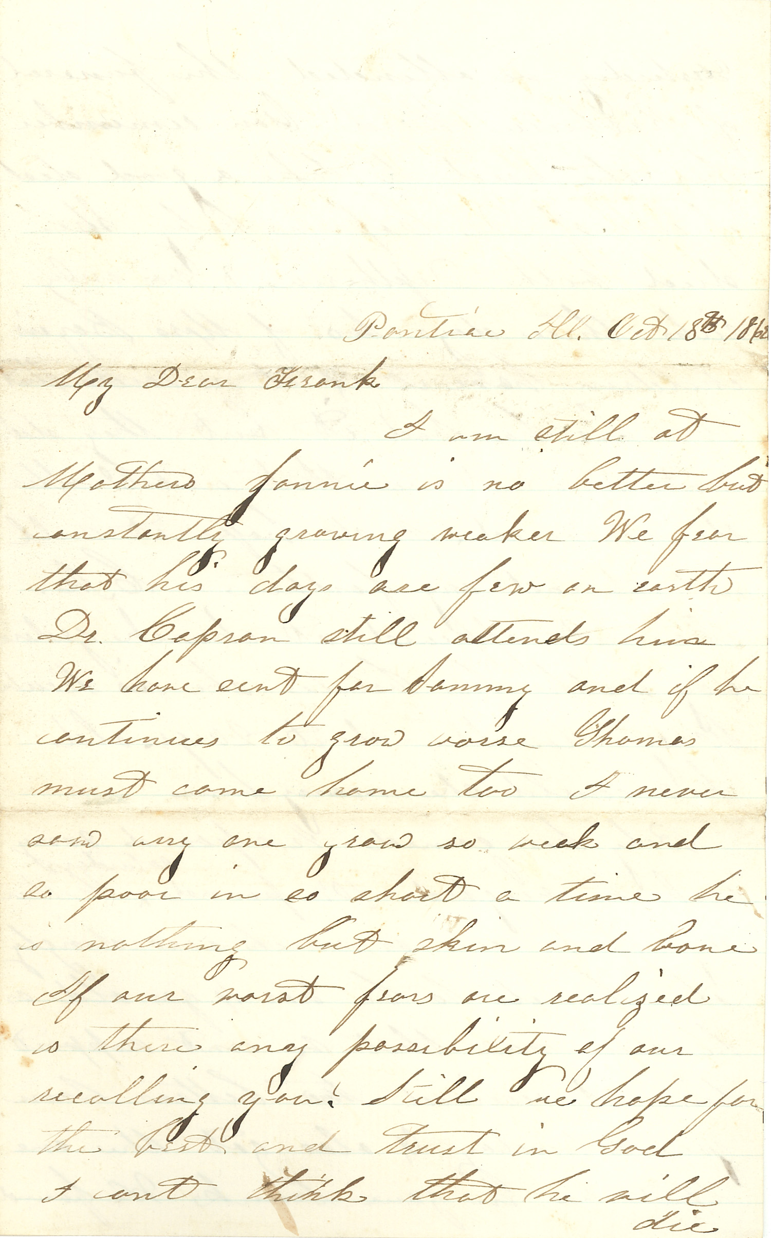 Joseph Culver Letter, October 18, 1862, Page 1