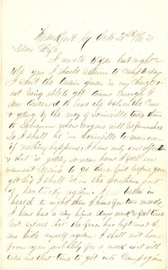 Joseph Culver Letter, October 21, 1862, Letter 2, Page 1