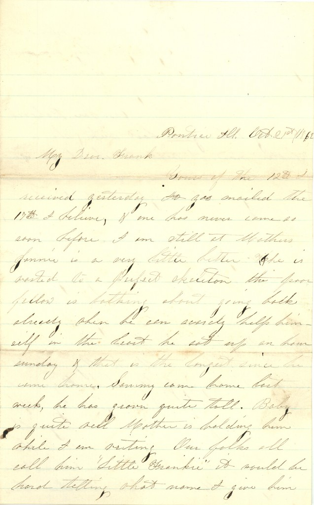 Joseph Culver Letter, October 21, 1862, Page 1