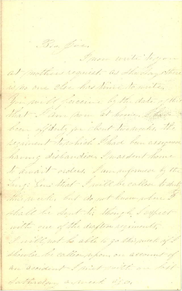 Joseph Culver Letter, October 24, 1862, Page 1