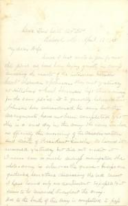Joseph Culver Letter, April 18, 1865, Page 1