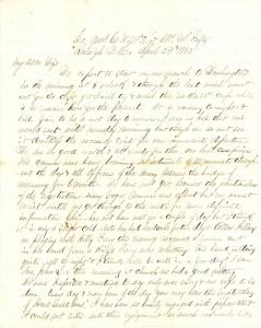 Joseph Culver Letter, April 29, 1865, Page 1