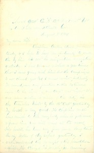 Joseph Culver Letter, August 3, 1864, Page 1