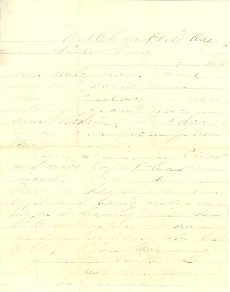 Joseph Culver Letter, August 4, 1864, Page 1
