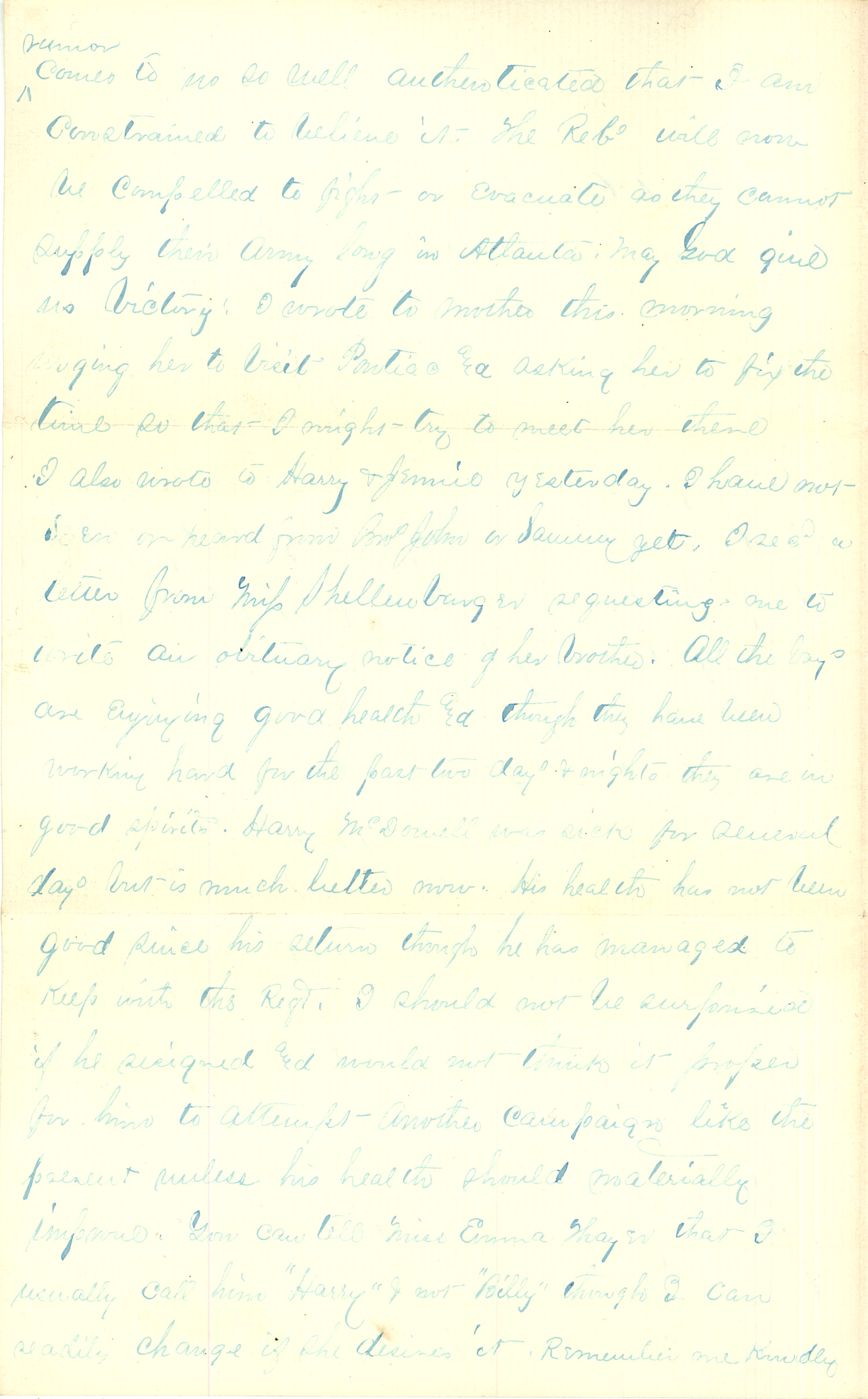 Joseph Culver Letter, August 5, 1864, Page 2