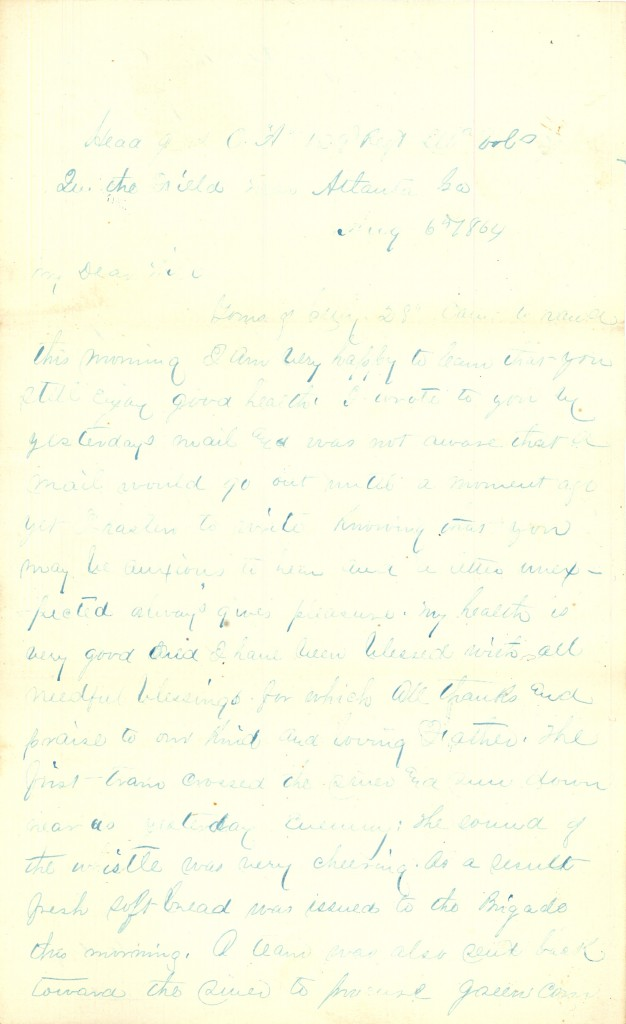 Joseph Culver Letter, August 6, 1864, Page 1