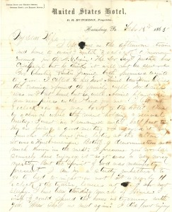 Joseph Culver Letter, February 13, 1865, Page 1