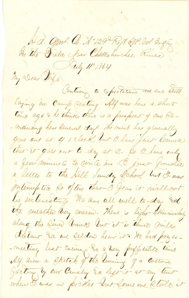 Joseph Culver Letter, July 11, 1864, Page 1