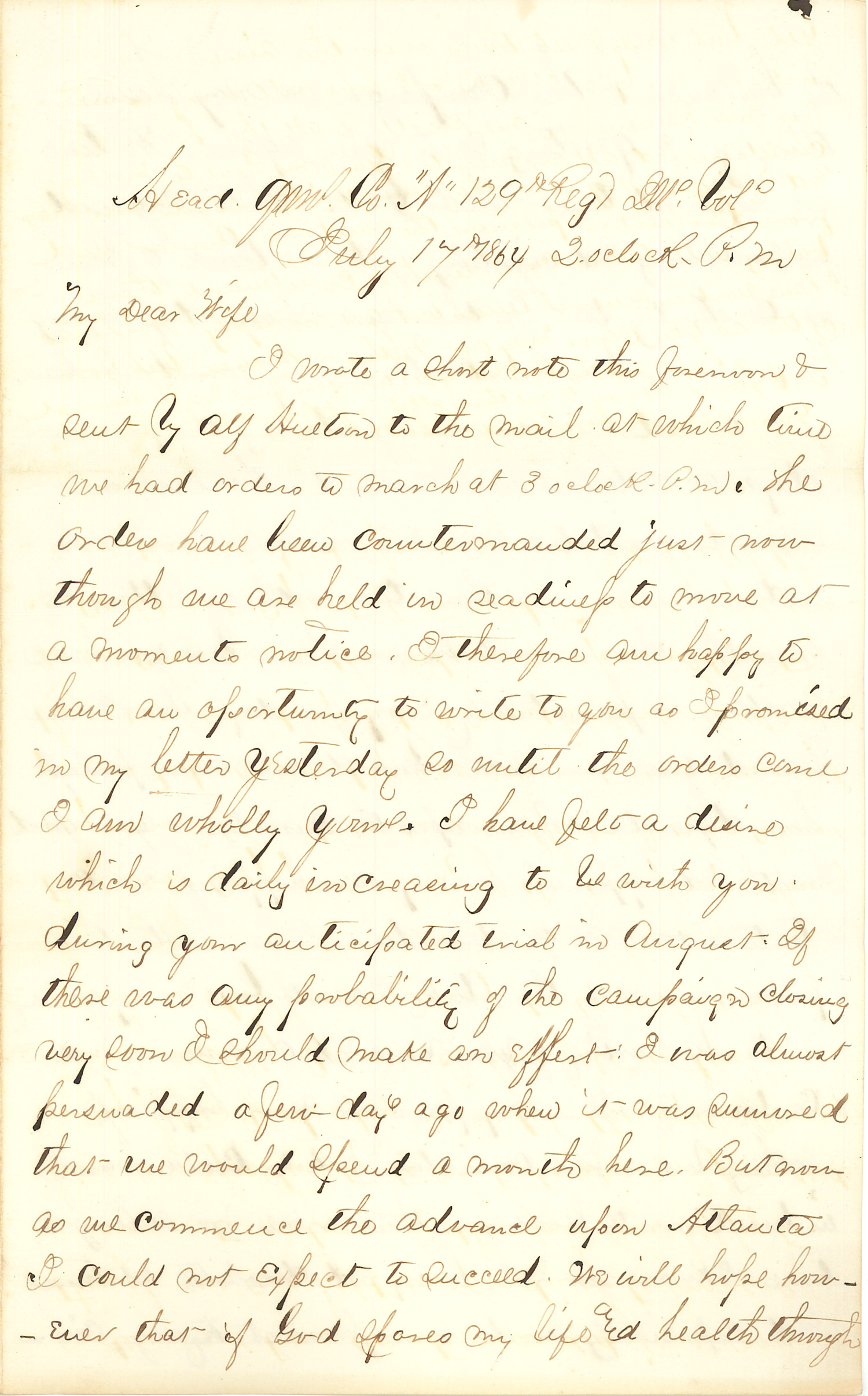 Joseph Culver Letter, July 17, 1864, Page 1