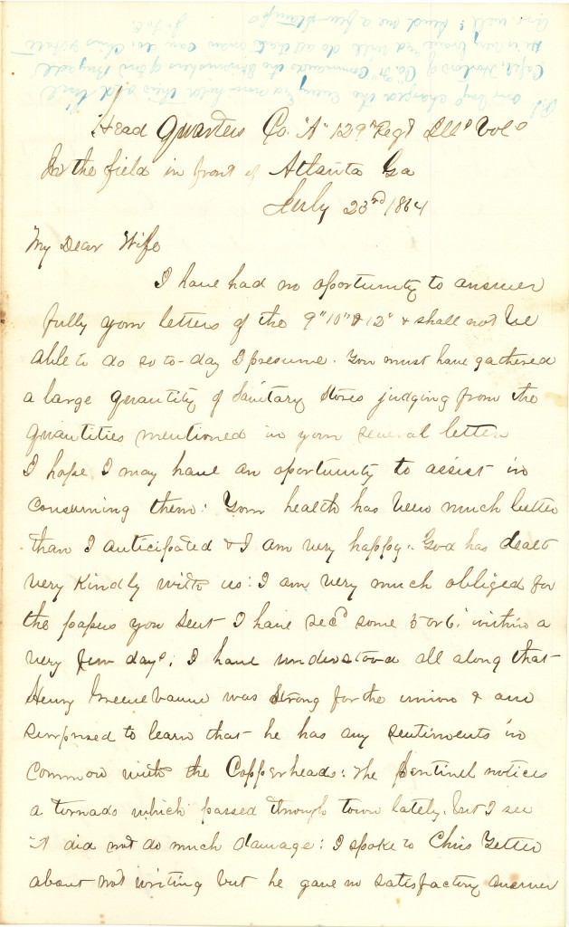 Joseph Culver Letter, July 23, 1864, Page 1