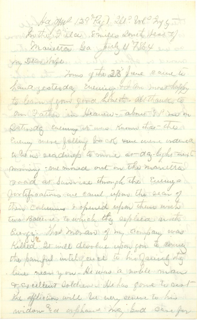 Joseph Culver Letter, July 4, 1864, Page 1