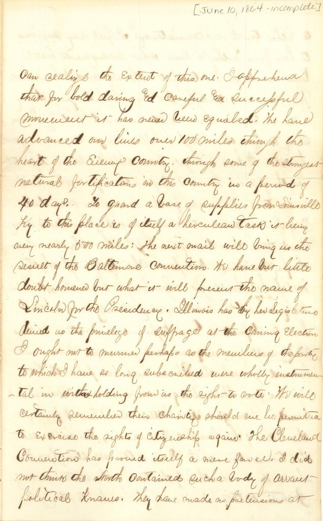 Joseph Culver Letter, June 10, 1864, Page 1