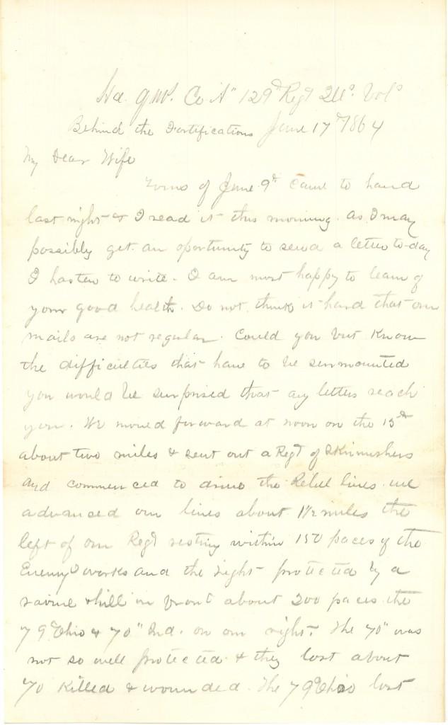 Joseph Culver Letter, June 17, 1864, Page 1