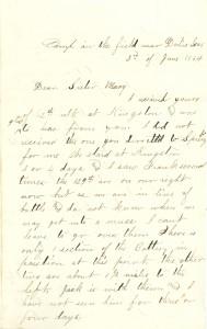 Joseph Culver Letter, June 2, 1864, Page 1