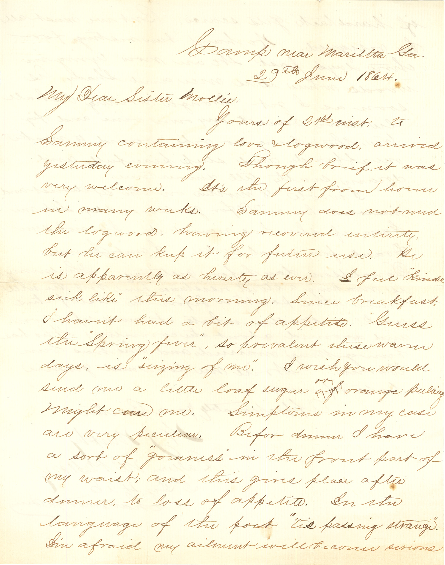 Joseph Culver Letter, June 29, 1864, Page 1