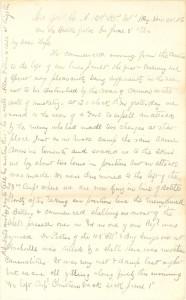 Joseph Culver Letter, June 3, 1864, Page 1
