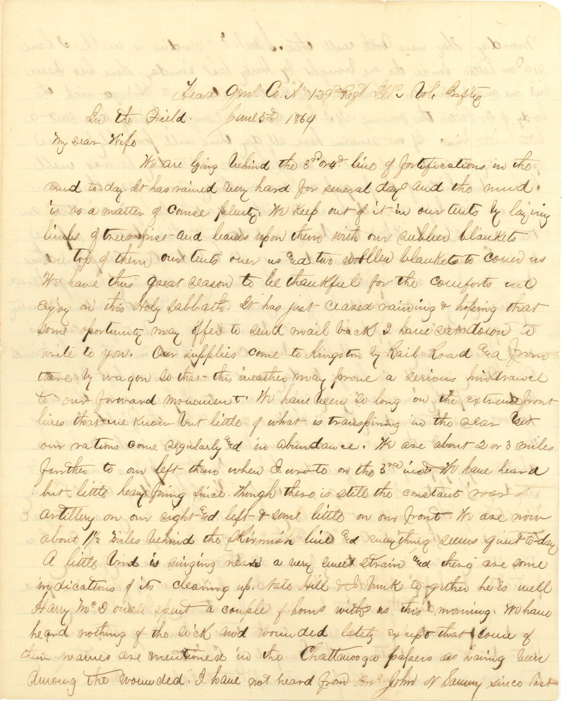 Joseph Culver Letter, June 5, 1864, Page 1