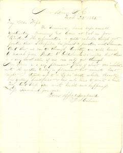 Joseph Culver Letter, March 22, 1865, Page 1