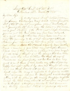 Joseph Culver Letter, March 29, 1865, Page 1
