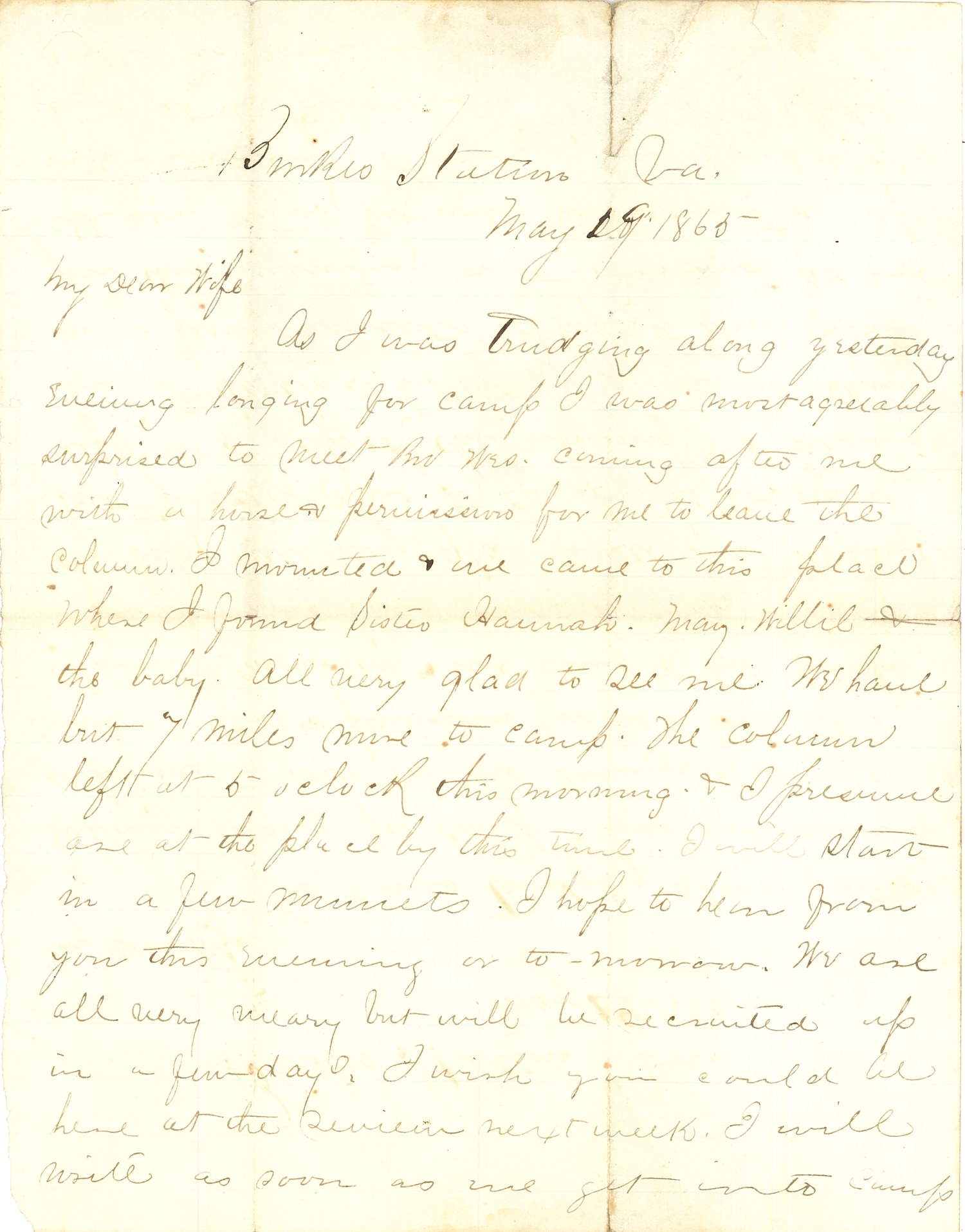 Joseph Culver Letter, May 19, 1865, Page 1