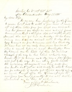 Joseph Culver Letter, May 23, 1865, Page 1