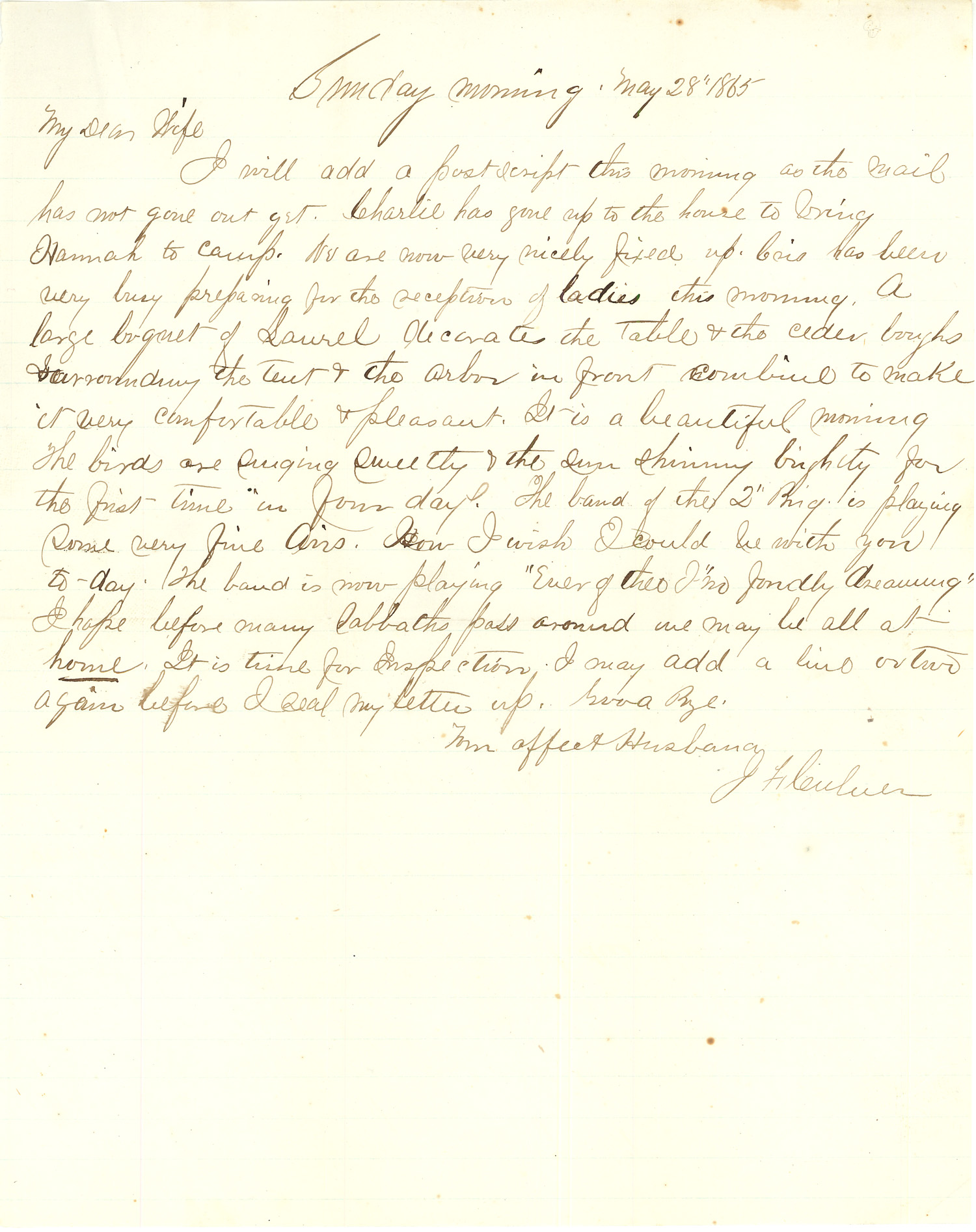 Joseph Culver Letter, May 28, 1865, Page 1