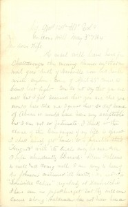Joseph Culver Letter, May 3, 1864, Page 1