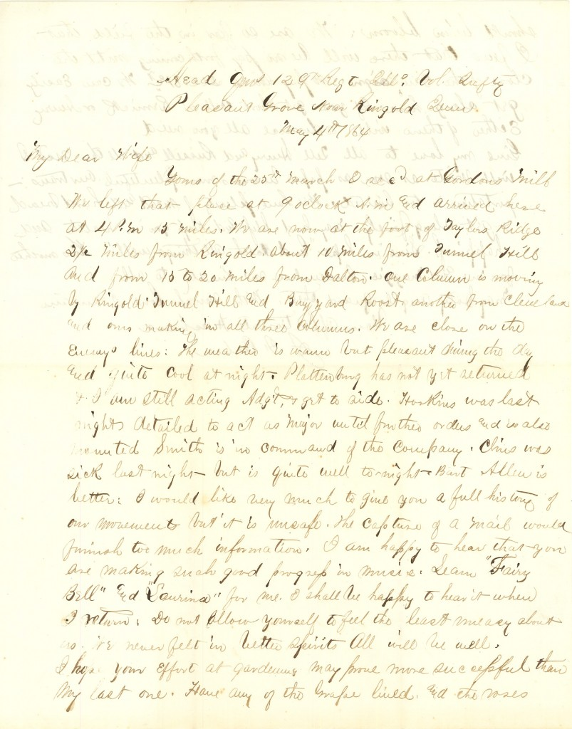Joseph Culver Letter, May 4, 1864, Page 1