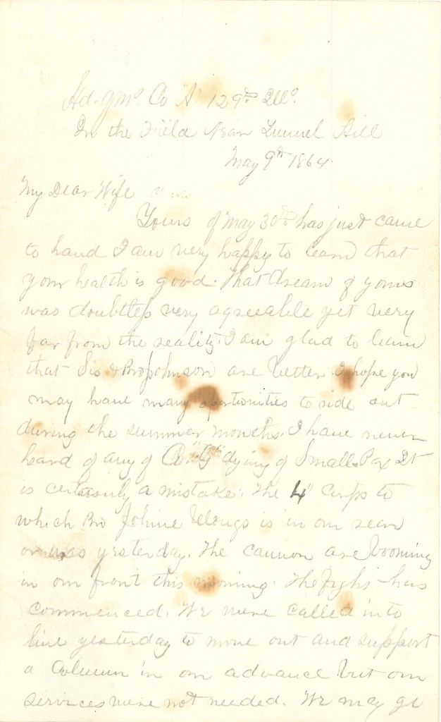 Joseph Culver Letter, May 9, 1864, Page 1