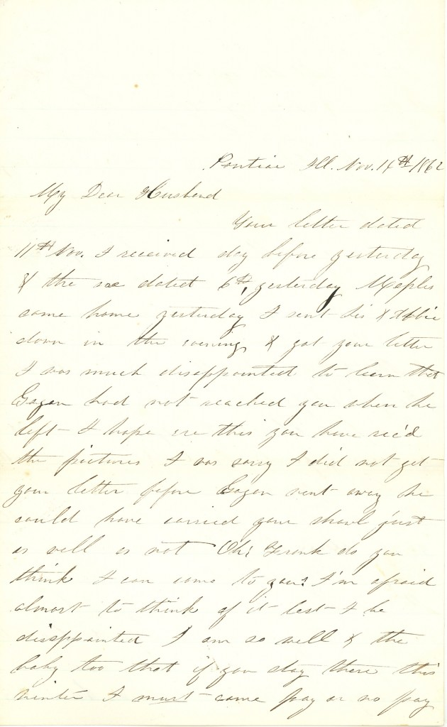 Joseph Culver Letter, November 14, 1862, Page 1