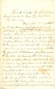 Joseph Culver Letter, November 16, 1862, Page 1