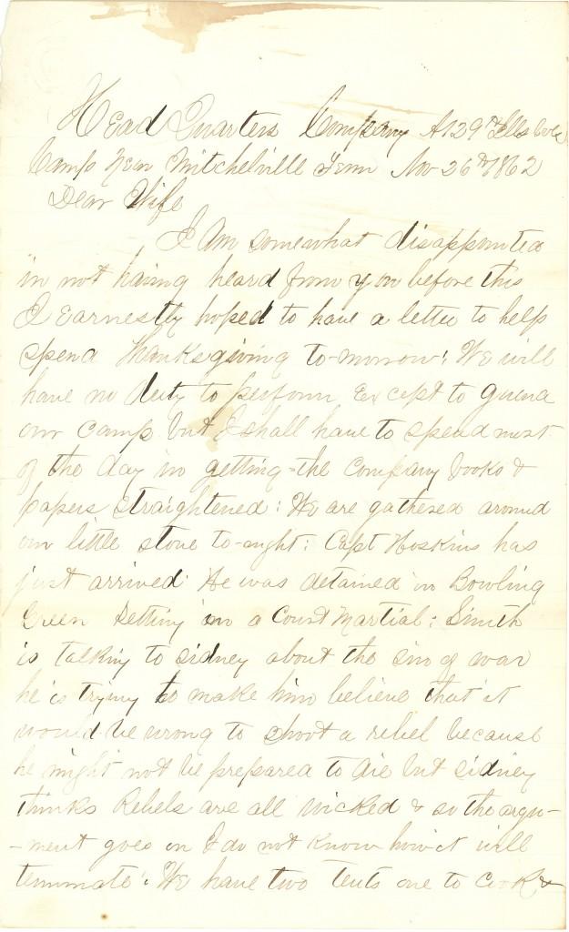 Joseph Culver Letter, November 26, 1862, Page 1
