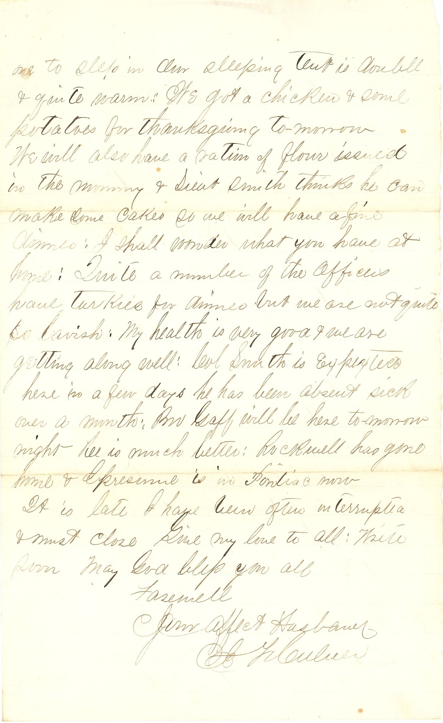 Joseph Culver Letter, November 26, 1862, Page 2