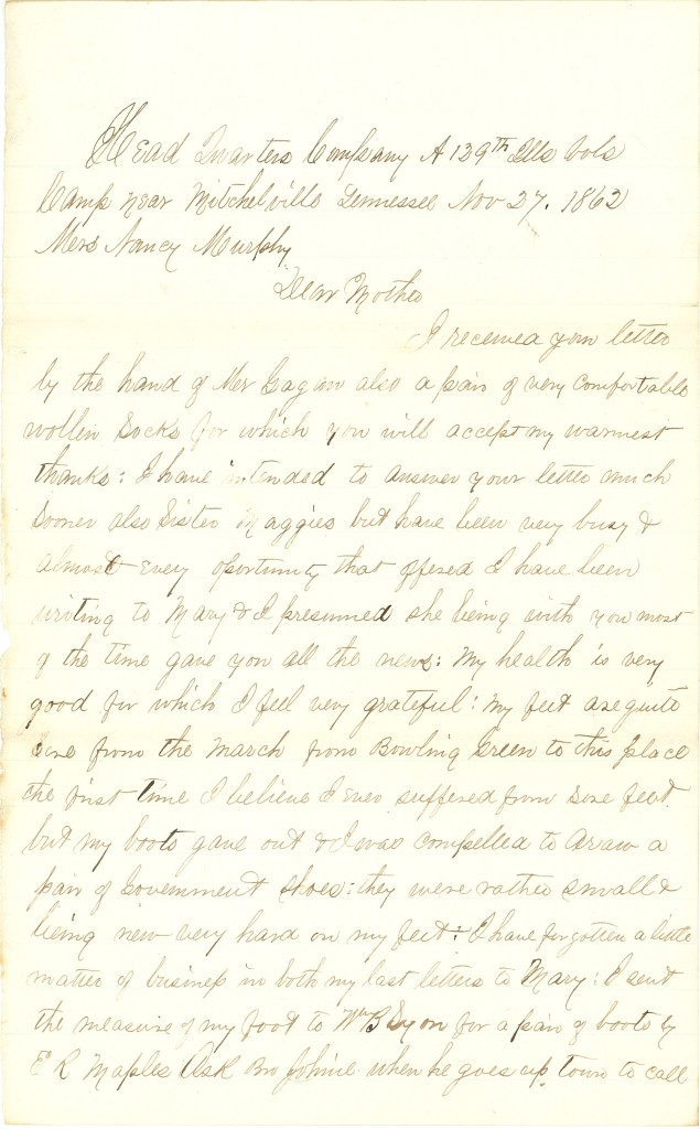 Joseph Culver Letter, November 26, 1862, Page 3