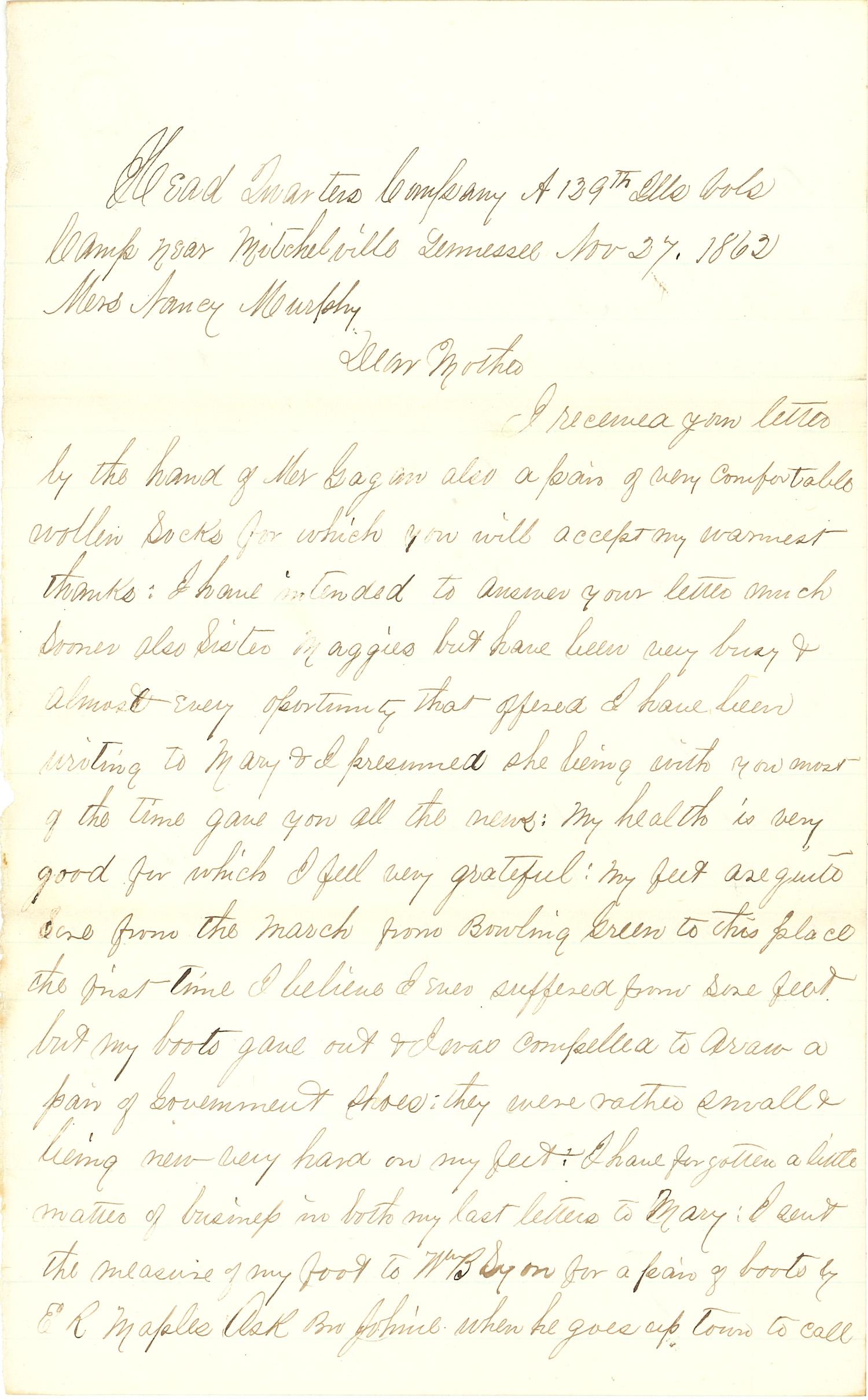 Joseph Culver Letter, November 26, 1862, Page 3